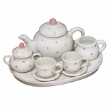 Andrea by Sadek Doll Tea Set Pink Polka Dots