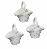 Andrea by Sadek 3 Assorted Porcelain Baskets Polka Dot