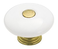 "1-1/2"" Knob White Ceramic Antique English Center AM-69231"