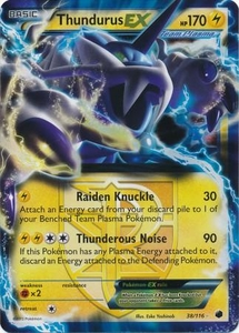 Pokemon Black & White Plasma Freeze Single Card Rare Holo EX #38 Thundurus-EX