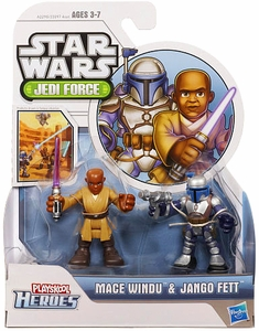 Star Wars 2013 Playskool Jedi Force Mini Figure 2-Pack Mace Windu & Jango Fett