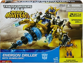 Transformers Prime Beast Hunters Cyberverse Energon Driller with Bumblebee New!