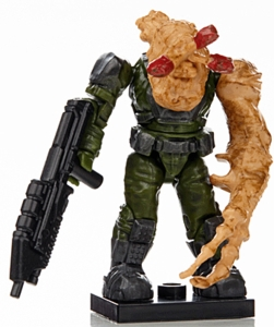 Halo Wars Mega Bloks LOOSE Mini Figure Green Flood Combat Form with Assault Rifle [Series 7]