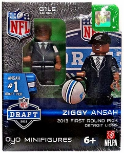 OYO Football NFL Draft First Round Picks Building Brick Minifigure Ziggy Ansah [Detroit Lions] #5 Draft Pick