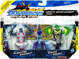 Beyblades Beywarriors Shogun Steel Range Attack 2-Pack Dark vs Water Element [BW-27 Gladiator Bahamut & BW-8A Pirate Orochi]