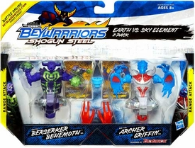 Beyblades Beywarriors Shogun Steel Range Attack 2-Pack Earth vs Sky Element [BW-22 Berserker Behemoth & BW-12A Archer Griffin]