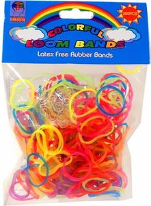 Colorful Loom Bands 300 Glow in the Dark RAINBOW Rubber Bands with 'S' Clips BLOWOUT SALE!