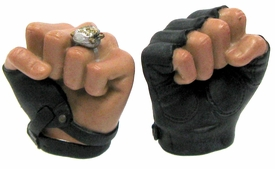Hot Toys Expendables 2  Barney Ross LOOSE 1/6 Scale Pair of Gloved Fists & Ring on Left Fist