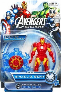 Marvel Avengers Assemble SHIELD GEAR Action Figure Tornado Blade Iron Man [Spinning Shield Blades!]