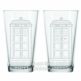 Dr Who Etched Glass 16oz Glass 2-pack Tardis Pre-Order ships April