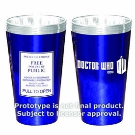 Dr Who 16 oz Glass 2-pack Tardis Police Sign Pre-Order ships April