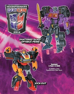 Transformers Botcon 2012 Exclusive Action Figure 2-Pack Shattered Glass Optimus Prime & Kick-Out