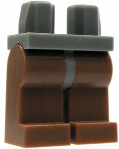 LEGO LOOSE Legs Dark Gray Hips with Brown Legs
