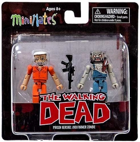 Walking Dead Minimates Series 3 Mini Figure 2-Pack Prison Hershel & Farmer Zombie BLOWOUT SALE!