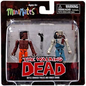 Walking Dead Minimates Series 3 Mini Figure 2-Pack Battle-Damaged Tyreese & Farmer Zombie  [Variant]
