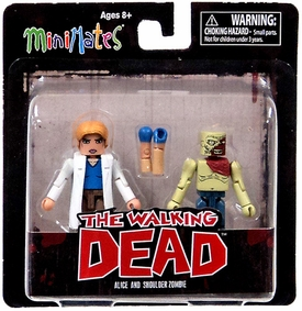 Walking Dead Minimates Series 4 Exclusive Mini Figure 2-Pack Alice & Shoulder Zombie