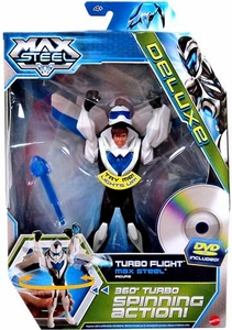 Max Steel 6 Inch DELUXE Action Figure with DVD Turbo Flight Max [360 Degree Spinning Action!]