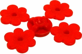 LEGO Terrain LOOSE Plant Sprue of Four Red Flowers