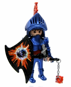 Playmobil Fi?ures Series 1 LOOSE Mini Figure Blue Knight with Morning Star