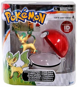 Pokemon TOMY Clip 'n Carry Poke Ball Leafeon & Poke Ball