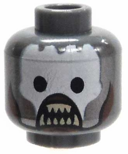 LEGO LOOSE Head Dark Gray Uruk-Hai Berserker Baring Teeth