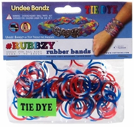 Undee Bandz Rubbzy 100 Red, White & Blue Tie-Dye Rubber Bands with Clips