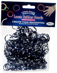 Tie-Dye Loom Bands 300 Navy Blue & White Polka Dot Rubber Bands with 'S' Clips