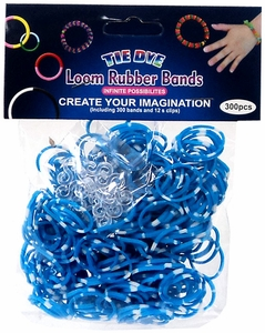 Tie-Dye Loom Bands 300 Light Blue & White Polka Dot Rubber Bands with 'S' Clips