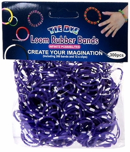Tie-Dye Loom Bands 300 Purple & White Polka Dot Rubber Bands with 'S' Clips