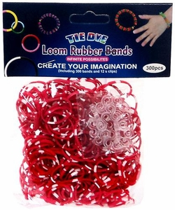 Tie-Dye Loom Bands 300 Red & White Polka Dot Rubber Bands with 'S' Clips