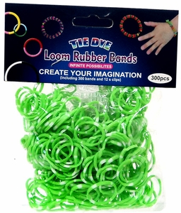 Tie-Dye Loom Bands 300 Green & White Polka Dot Rubber Bands with 'S' Clips