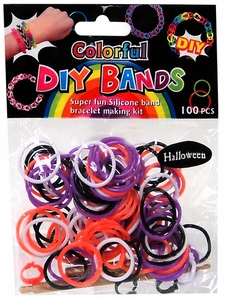 D.I.Y. Do it Yourself Bracelet Bands 100 Halloween Black, White, Orange & Purple Rubber Bands with Hook Tool & Buckles