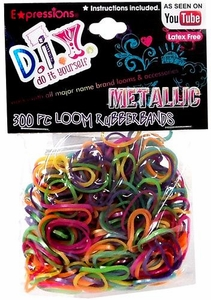 D.I.Y. Do it Yourself Bracelet 300 Metallic Rainbow Rubber Bands with Clips