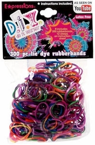 D.I.Y. Do it Yourself Bracelet 300 Rainbow Tie-Dye Rubber Bands with Clips