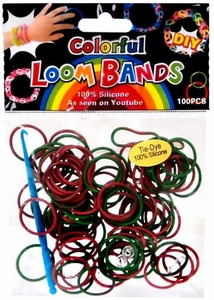 D.I.Y. Do it Yourself Bracelet Bands 100 Red & Green Holiday Tie-Dye Rubber Bands with Hook Tool & Clips