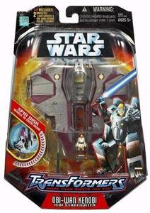Star Wars Saga '06 Transformers Action Figure Obi-Wan Kenobi to Jedi Starfighter
