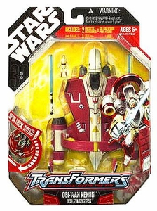 Star Wars 30th Anniversary Saga 2008 Transformers Action Figure Obi-Wan Kenobi to Jedi Starfighter [Red & White]