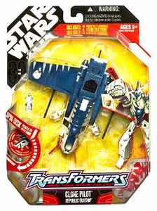 Star Wars 30th Anniversary Saga 2008 Transformers Action Figure Clone Pilot to Republic Gunship