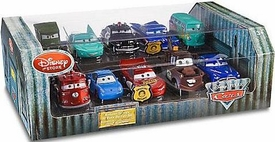 Disney / Pixar CARS Movie Exclusive 1:48 Die Cast Car Radiator Springs 10-Pack Sarge, Flo, Sheriff, Ramone, Filmore, Red, Sally, McQueen, Mater & Doc Hudson