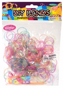 D.I.Y. Bracelet Bands 300 Glitter Rainbow Rubber Bands with Hook Tool & Buckles