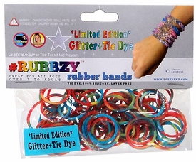Undee Bandz Rubbzy 100 Glitter Rainbow Tie-Dye Rubber Bands with Clips