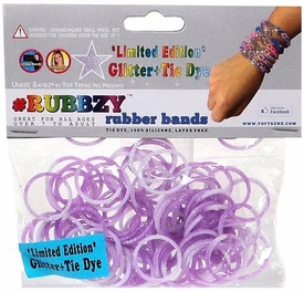 Undee Bandz Rubbzy 100 Glitter Purple & White Tie-Dye Rubber Bands with Clips BLOWOUT SALE!