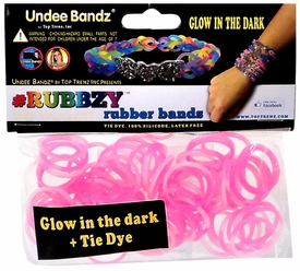 Undee Bandz Rubbzy 100 White & Pink Glow-in-the-Dark Tie-Dye Rubber Bands with Clips BLOWOUT SALE!