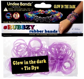 Undee Bandz Rubbzy 100 White & Purple Glow-in-the-Dark Tie-Dye Rubber Bands with Clips BLOWOUT SALE!