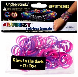 Undee Bandz Rubbzy 100 Pink & Purple Glow-in-the-Dark Tie-Dye Rubber Bands with Clips