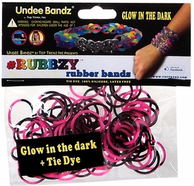 Undee Bandz Rubbzy 100 Pink & Black Glow-in-the-Dark Tie-Dye Rubber Bands with Clips BLOWOUT SALE!