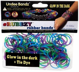Undee Bandz Rubbzy 100 Purple, Blue & Green Glow-in-the-Dark Tie-Dye Rubber Bands with Clips BLOWOUT SALE!