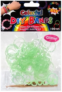 D.I.Y. Do it Yourself Bracelet Bands 100 Green Glitter Rubber Bands with Hook Tool & Buckles