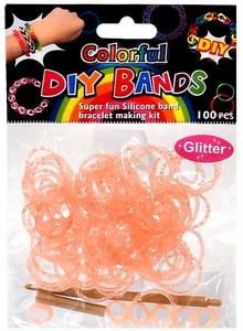 D.I.Y. Do it Yourself Bracelet Bands 100 Orange Glitter Rubber Bands with Hook Tool & Buckles