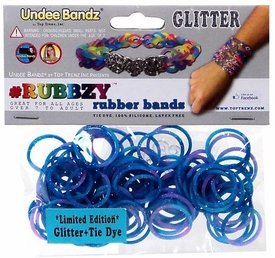 Undee Bandz Rubbzy 100 Blue & Purple Glitter Tie-Dye Rubber Bands with Clips BLOWOUT SALE!